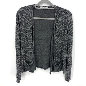 Cutloose Cardigan Drape Pocket Open Front Zebra M